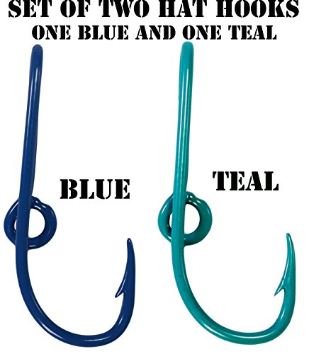 BT Outdoors Custom Colored Eagle Claw Hat Fish Hooks for Cap -Set of Two Hat pins- One Blue and One Teal Hat Hook Money/Tie Clasp