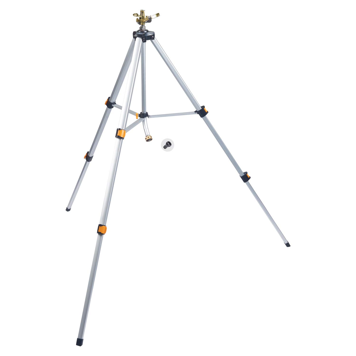 Melnor 65066-AMZ Metal Pulsating Sprinkler with Tripod and QuickConnect Product Adapter Set, Silver
