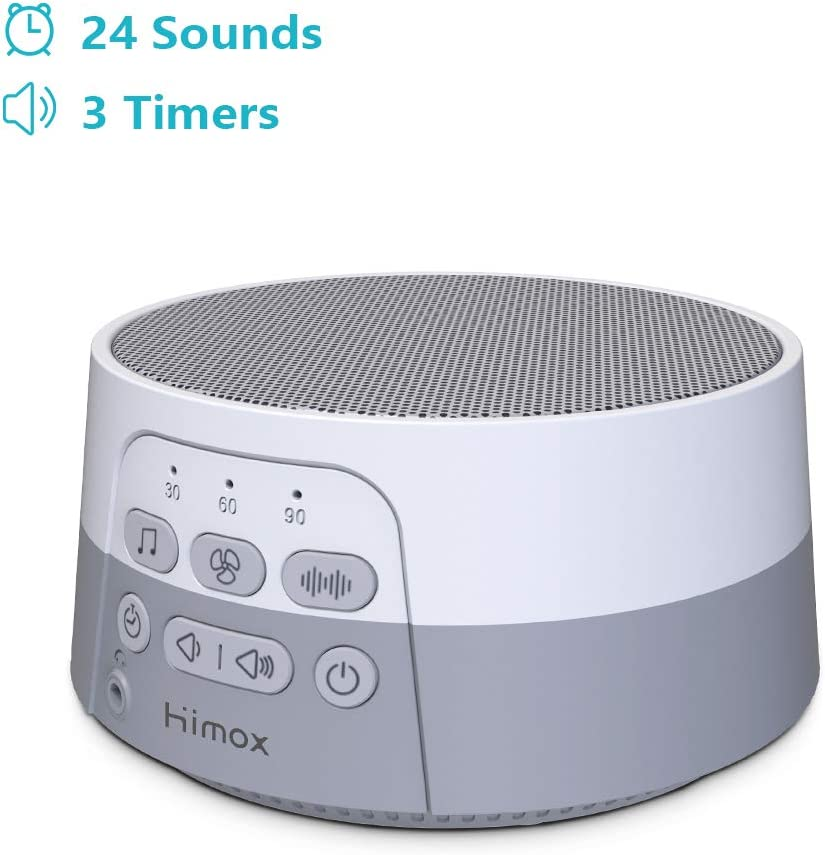 HIMOX White Noise Machine,Portable Sleep Sound Machine with 24 Soothing Sounds 3 Timers with USB Cable for Sleeping Relaxation Grey White