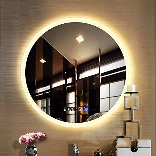 Bathroom mirror Modern LED Illuminated, Touch Switch Electronic Defoging Time Display, Round Frameless
