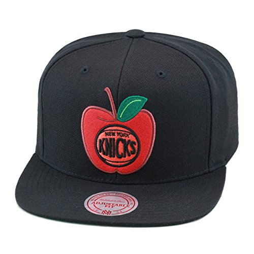 Mitchell & Ness New York Knicks Snapback Hat Cap Black/Apple Logo
