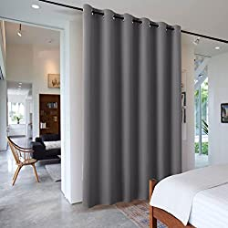 RYB HOME Room Divider Screen Partitions Curtain Economical Portable Modern Decro Blackout Privacy Panel for Patio Sliding Door/Beach/Shop/Office, 8 ft Tall x 10 ft Wide, Grey, 1 Pc