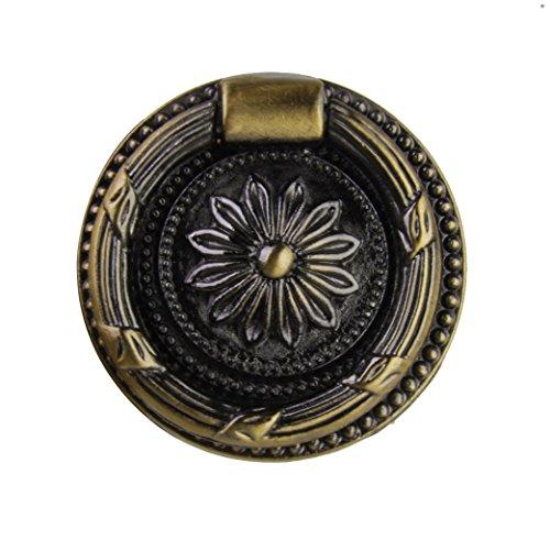 (Vintage Round Cabinet Door Drawer Wardrobe Pull Ring Handle Knob Dia. 35mm)