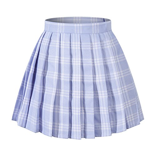 Women`s high Waisted Plaid Short Sexy A line Skirts Costumes (M, Blue White) by Beautifulfashionlife