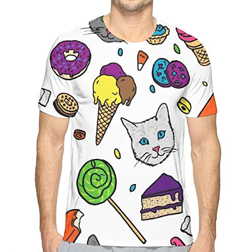 GJEHAGF Cat Happy to See Food Men's 3D Printed T-Shirt with Round Neck and Short Sleeves for Summer -