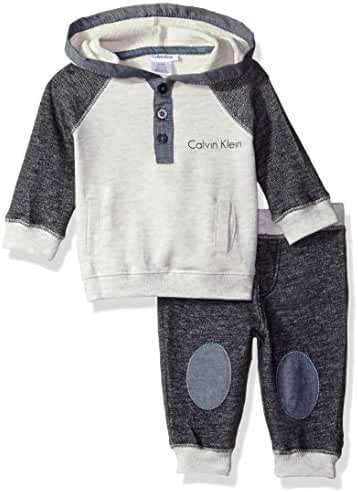 Calvin Klein Baby Boys' Color Block Hooded Pullover with Pants Set