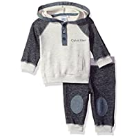 Calvin Klein Baby Color Block Hooded Pullover with Pants Set, Blue, 0/3 Month...