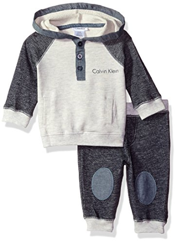 Calvin Klein Color - Calvin Klein Baby Color Block Hooded Pullover with Pants Set, Blue, 0/3 Months