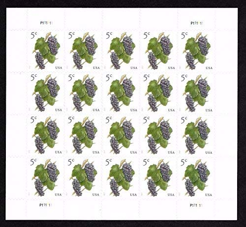 2017 Grapes 5 Cent Stamp In Sheet of Twenty Stamps Scott 5177 By USPS