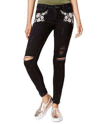b78164ec3f8 Vanilla Star Juniors' Floral-Embroidered Skinny Jeans (Blackborn, ...