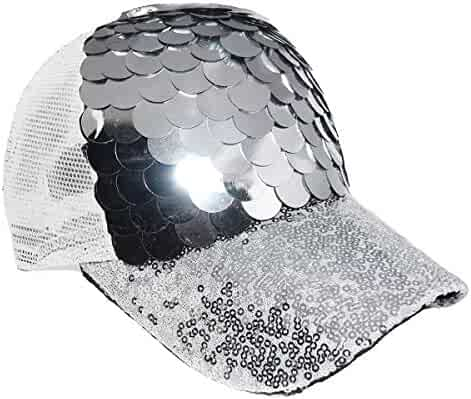 a8638f6b0bf Maticr Unisex Bling Mermaid Scales Sequin Trucker Hats Adjustable Mesh Caps  Baseball Party Hat (Silver
