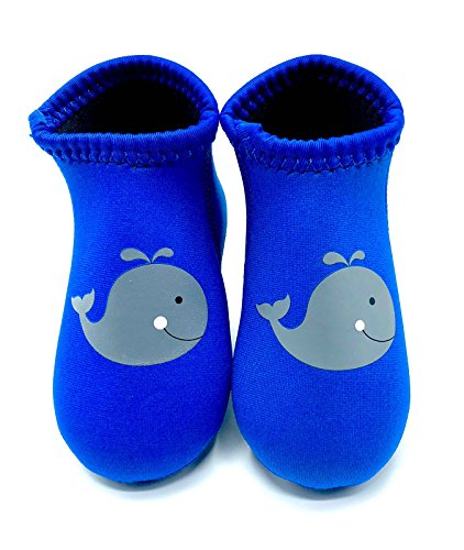 y Water Swim Beach Shoes (Medium (Sole Length 5.5 Inches, 18-24 Months), Blue Whale) ()