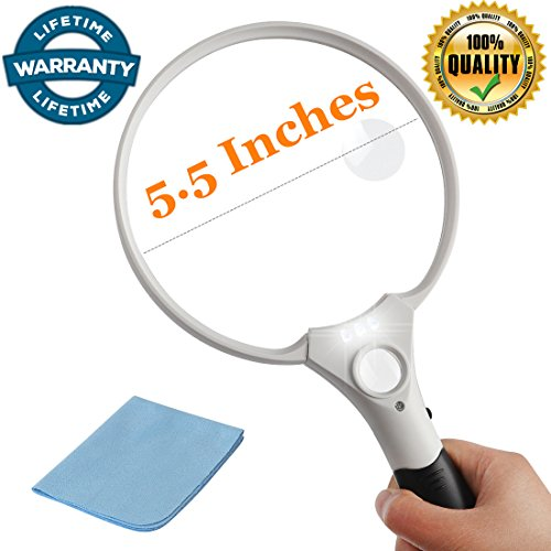 5.5 Inch Jumbo Reading Magnifying Glass with 3 LED Light for Seniors,Macular Degeneration- 2X 4X 25X Lens -Best Lighted Illuminated Handheld Magnifier Glass Jewelry Loupe