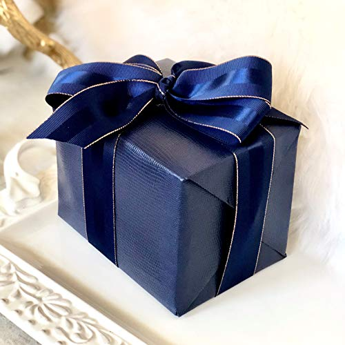 """Navy Blue Faux Leather Gift Wrap Paper for Large Presents 