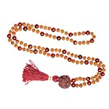 Yoga Necklace Meditation Beads Necklace Coral Rudraksha Yoga Meditation Japamala