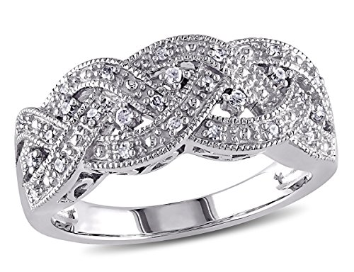 Braided Diamond Ring in Sterling Silver with Diamonds 1/8 Carat (ctw) ()