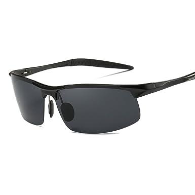 ELITERA Deporte Gafas de sol Hombre Aleación de magnesio de aluminio E8177 (Negro&Gris)