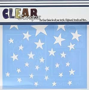 Clear Scraps CSSM6-STARS Translucent Plastic Film Stencil, Stars, 6-Inch x 6-Inch