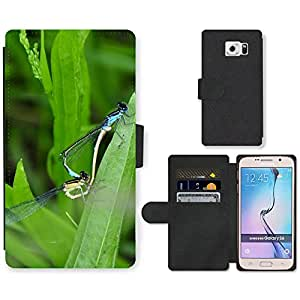 CARD POCKET BOOK CASE PU LEATHER CASE // M00104661 Insecto Libélula emparejamiento agua de estanque // Samsung Galaxy S6 (Not Fits S6 EDGE)