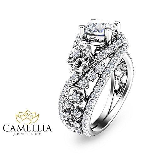 Forever Brilliant Moissanite Ring 14K White Gold Wedding Ring Flower Design Custom Ring with Natural Side Diamonds Nature Inspired Engagement Ring Unique Alternative Bridal Ring