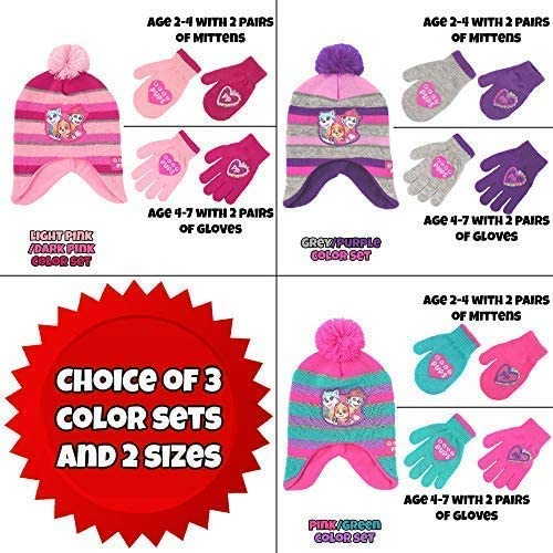 Nickelodeon girls Paw Patrol Character Hat And 2 Pair Mittens Or Gloves Cold Weather Set Age 4-7 Hat /& 2 Pair Gloves Set Light Pink//Dark Pink Gloves Set