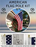 American Flag Pole Kit 3x5 US Flag, Wall Mount and Bracket 6FT Silver Brushed Aluminium Pole for Outdoor or Indoor Use Good for House Commercial Residencial Truck or RV