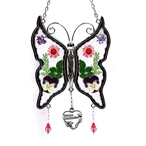 Loganrock Precious Grandmother Butterfly Suncatcher Wind Chimes Gifts for Grandma Pressed Dried Flower Metal Engraved Charm as Mother's Day Grandma Birthday Christmas Gifts from granddaughter grandson