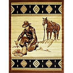 Lodge Cowboy Area Rug Design 371 (3 Feet 10 Inch X 5 Feet 1 Inch)