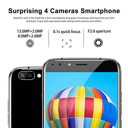 Teléfono Móvil Baratos, OUKITEL U22 3G Smartphone Libre 4 Cámaras (2MP + 8MP Front, 2MP + 13MP Rear) 5,5 pulgadas HD IPS Android 7.0 MTK6580A 1.3GHZ Quad Core 2GB RAM 16GB ROM Fingerprint GPS Dual Sim Negro
