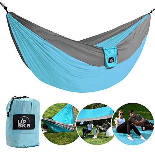 - UPSKR Camping Hammock Double & Single Waterproof Lightweight Parachute Heavy-Duty Carabiners with Tree Straps - USA Based Hammocks Brand Gear, Indoor Outdoor Backpacking Survival & Travel, Portable