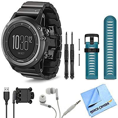 Fenix 3 Multisport Training Sapphire GPS Watch Blue Band Bundle Includes Sapphire Watch with Metal Band, Blue Watch Band, USB Cable, Noise Isolation Headphones and Micro Fiber Cloth
