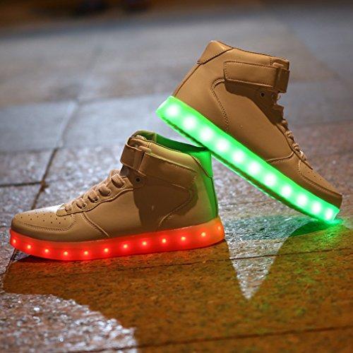 Dogeek Ljus Upp Skor Män Kvinnor Ledde Skor Glänsande Sneakers (välj En Storlek Större) White2