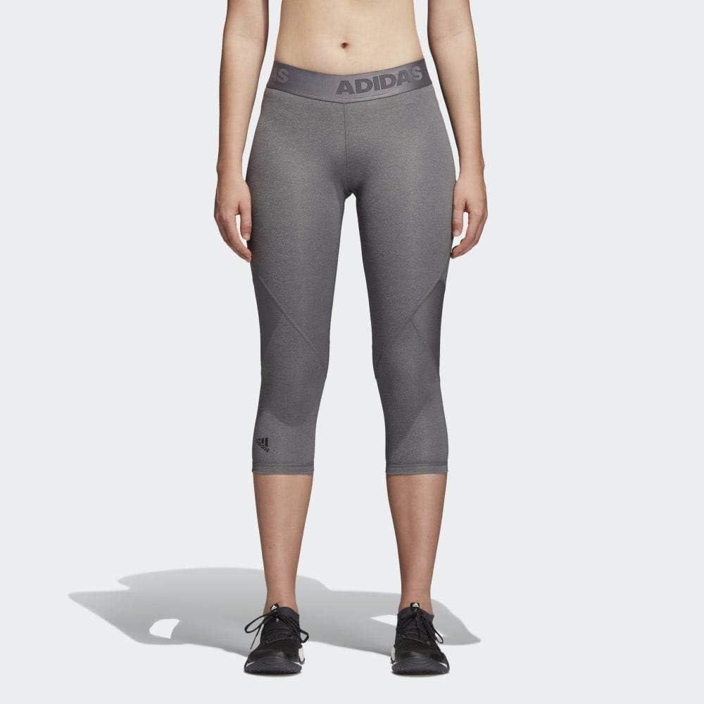 adidas Damen Sport Fitness 34 Hose AlphaSkin SPRT TIGHT 34 HEATHER grau schwarz, Größe:XL