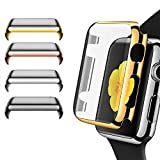Apple Watch Series 3 Case, Leagway 4Pack Slim iwatch 3 Protective Snap-On Case with Built-in Clear Screen Protector, Ultra-thin PC Plated Bumper Anti-Scratch Full Cover for Apple Watch Series 3 (38mm)