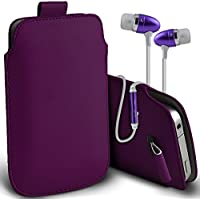 Investment ( Dark Purple + Earphone ) Sony Xperia M2 Aqua Protective Stylish Fitted Faux Leather Pull Tab Pouch Skin Case... cheapest