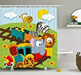 Kids Decor Shower Curtain by Ambesonne, Cartoon Baby Safari Wild Animals In a Trainwith Striped Backdrop Art Print , Fabric Bathroom Decor Set with Hooks, 75 Inches Long, Multicolor
