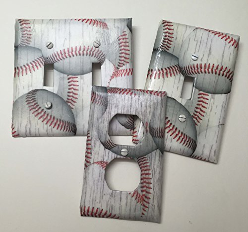 Distressed Baseball sport,boys girls, teen room, playroom, light plate cover,light switch plate, outlet cover, outlet plate, home decor, wall art ()