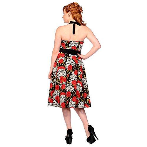 retrò retrò retrò School Rockabilly con Tattoo e rosa rosa rosa cantore stile in dell'abito vestito teschio nero Neck Vietato Old tv0Wq