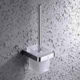 XY&XH Toilet Brush Holder ,Contemporary Chrome Finish Brass and Stainless Steel Wall Mounted Toilet Brush Holder with Glass Cup
