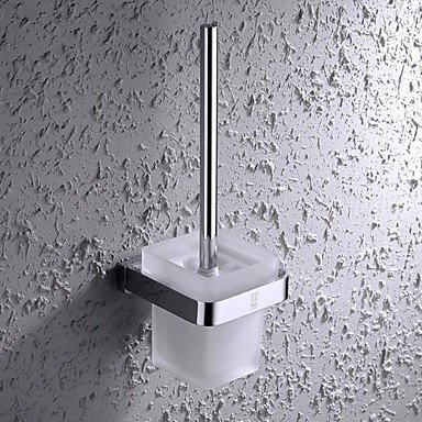 XY&XH Toilet Brush Holder ,Contemporary Chrome Finish Brass and Stainless Steel Wall Mounted Toilet Brush Holder with Glass Cup by XY&XH