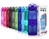 HoneyHolly Sports Water Drinks Bottle - 400ml/ 500ml/ 700ml/ 1L For Kids, Bike Cycling, Running, Camping, Training, Gym, Yoga , Outdoor, Unisex Tritan Plastic & Bpa Free Hydration Drinking Bottles with Fruit Filter, Flip Top Opens with 1 Click Reusable Leakproof Lid(0.5 liter, Matte Navy)