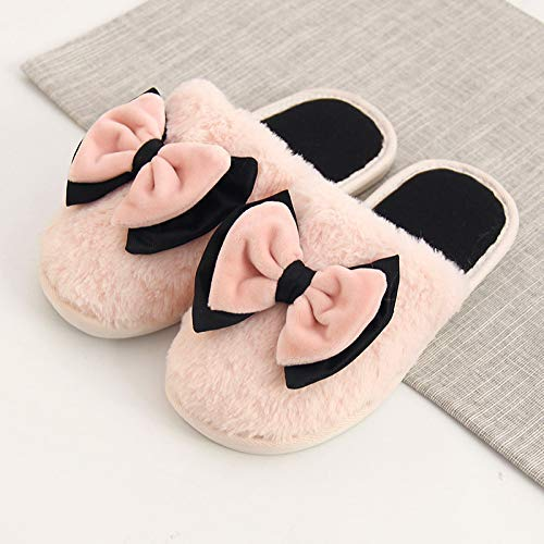 Easyflower Available Perfect Cotton Slippers Female Winter Indoor Home Slip Home Warm Thick Bottom Couple Fur Home Cute Cartoon Slippers Color : Pink, Size : 3