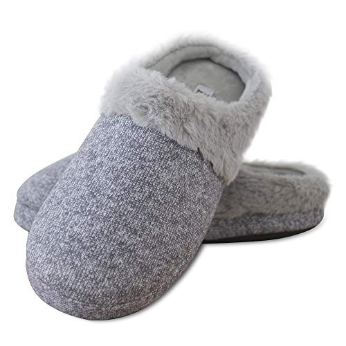 Elabooz Women's Comfort Slippers, Knitted Cotton Slippers Cozy Memory Foam Anti-Slip Rubber Sole Indoor Slippers (7-8, Grey Fur)