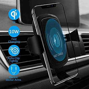 Wireless Car Charger Mount, Automatic Clamping Car Mount Holder,7.5W 10W Qi Fast Charging Car Windshield Dashboard Air Vent Phone Holder, Compatible with iPhone Xs Max XR8 and More Device