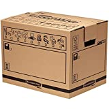 SmoothMove Heavy Duty Double Wall Cardboard Moving and Storage Boxes with Handles - Tape Free Assembly, 49 Litre, 34 x 32 x 45 cm (5 Pack)
