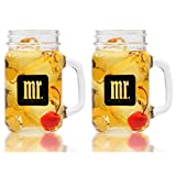 Mr. & Mr. Gay Couple Mason Jars - Same Sex Drinking Glasses - His and His - For Wedding, Engagement, Anniversary, House Warming, Host Gift, 16 oz