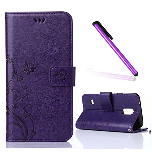 Samsung Galaxy S5 Mini Case,EMAXELER Stylish Wallet Case [Kickstand Flip Case][Credit Cards Slot][Cash Pockets] PU Leather Flip Wallet Case with Stand For Galaxy S5 Mini SM-G800 SM-G800F --Purple
