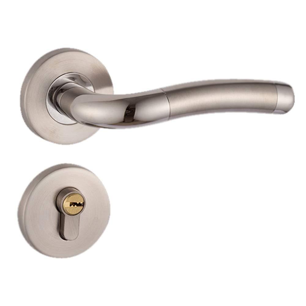 WXZDCP Door Handles Door Handles Lock, Lever Latch Indoor Door Lock Security Mute Durable Bedroom Bearing Straight Adjustable Polishing Office Bathroom Simple Style (Color : Gray)