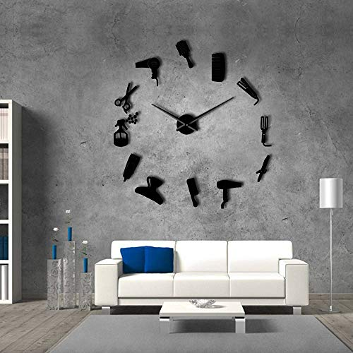 DIY Barber Shop Giant Wall Clock with Mirror Effect Barber Toolkits Decorative Frameless Clock Watch Hairdresser Barber Wall Art Black 47 Inch
