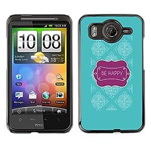 For HTC Desire HD / G10 / inspire 4GCase , Happy Teal Purple Text Motivational - Diseño Patrón Teléfono Caso Cubierta Case Bumper Duro Protección Case Cover Funda